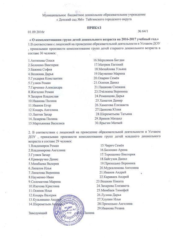 Распорядительные акты (приказы) по комплектованию групп.